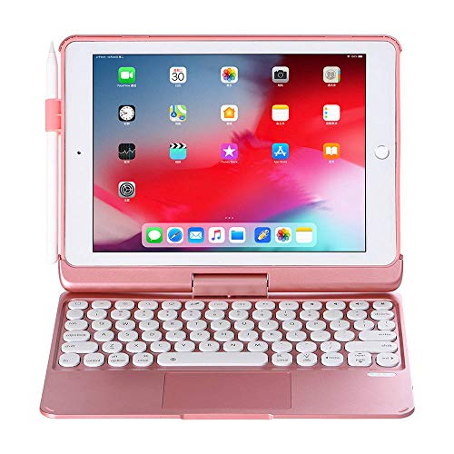Wireless Bluetooth Trackpad Keyboard Case For iPad Pro 9.7 7 Colors Backlight 360 Rotatable Detachable Cover With Pencil Holder-Rose Gold_set