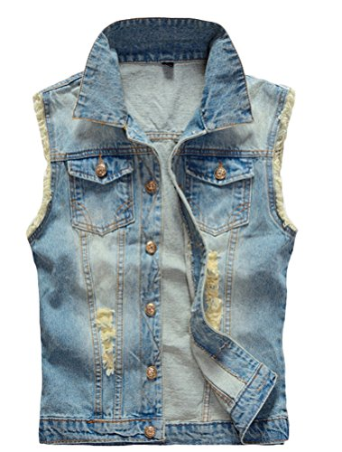 Lavnis Men's Sleeveless Denim Vest Casual Slim Fit Button Down Jeans Vests Jacket Blue XS