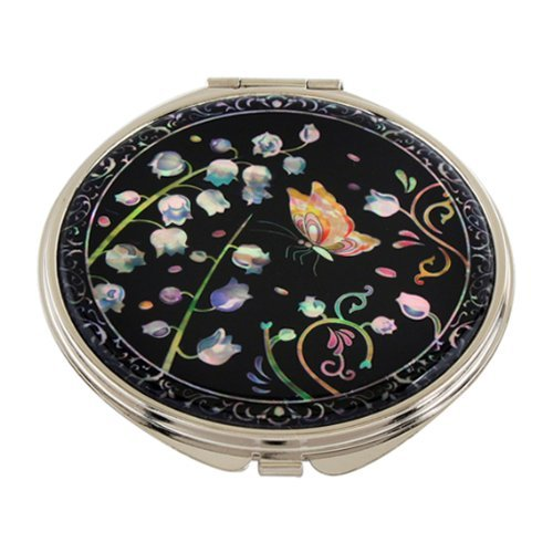 Mother of Pearl Lily of the Valley Design Double Compact Magnifying Cosmetic Makeup Purse Beauty Pocket Mirror by Antique Alive