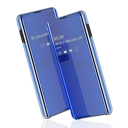 BRAND SET Funda Samsung Galaxy S9 del teléfono móvil Espejo Inteligente Cubierta Funda Doble Cubierta de protección de Ventana Ultra-Delgada con función de Soporte Adecuado para Samsung S9-Azul