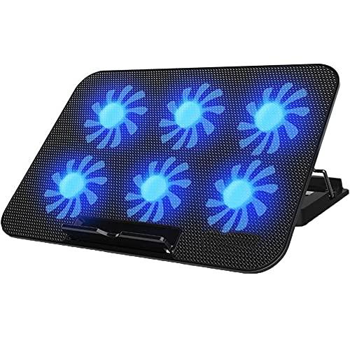 Feicuan Base de Refrigeracion Portatil, Gaming Laptop Cooling Pad Cooler con 6 Ventilador silencioso luz LED 2 Puertos USB, Soporte para portátil Ángulo de Altura Ajustable para 13-15.6 Pulgada,Azul