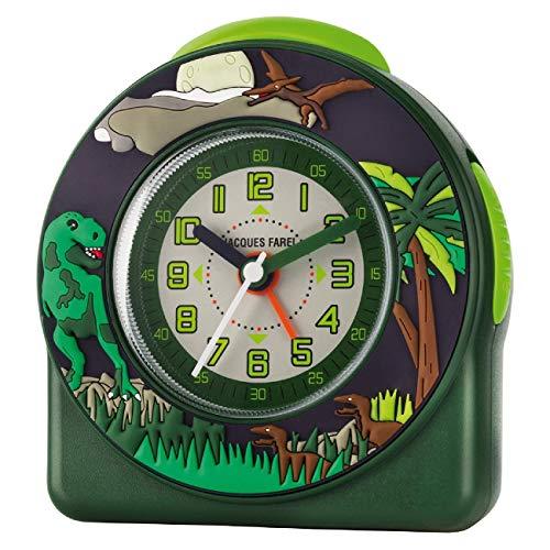 JACQUES FAREL Réveil Enfant garçon 3D T-Rex Dino sans tic-tac analogique à Quartz ACW 44 Vert
