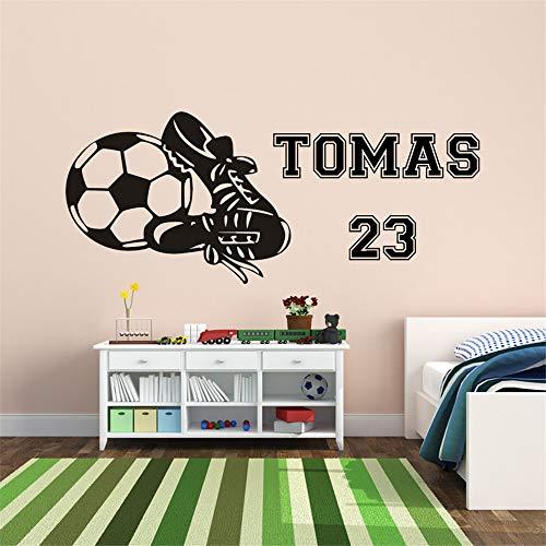 wandaufkleber 3d schlafzimmer Kunden gemacht junge Fußball Fußballschuhe personalisierte Namen Aufkleber Dekor Kinderzimmer Dekoration