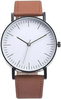 Napoo Men's Vintage Design Leather Band Analog Alloy Quartz Wrist Watch Big Dial