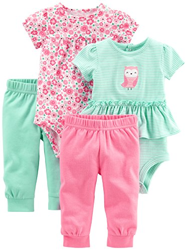 Simple Joys by Carter's Girls' 4-Piece Bodysuit and Pant Set, Pink Floral/Mint Owl, 0-3 Months
