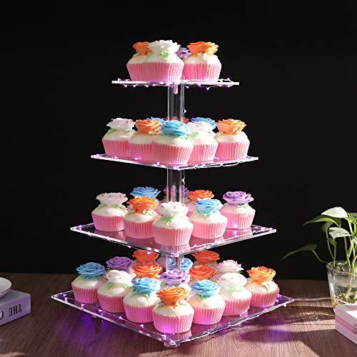 Jofave 4 Tier Cupcake Stand Square Premium Cupcake...
