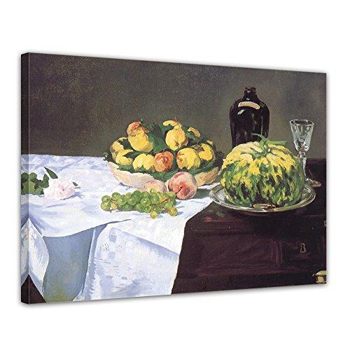 Leinwandbild Édouard Manet Stillleben mit Melone und Pfirsichen - 120x90cm quer - Keilrahmenbild...