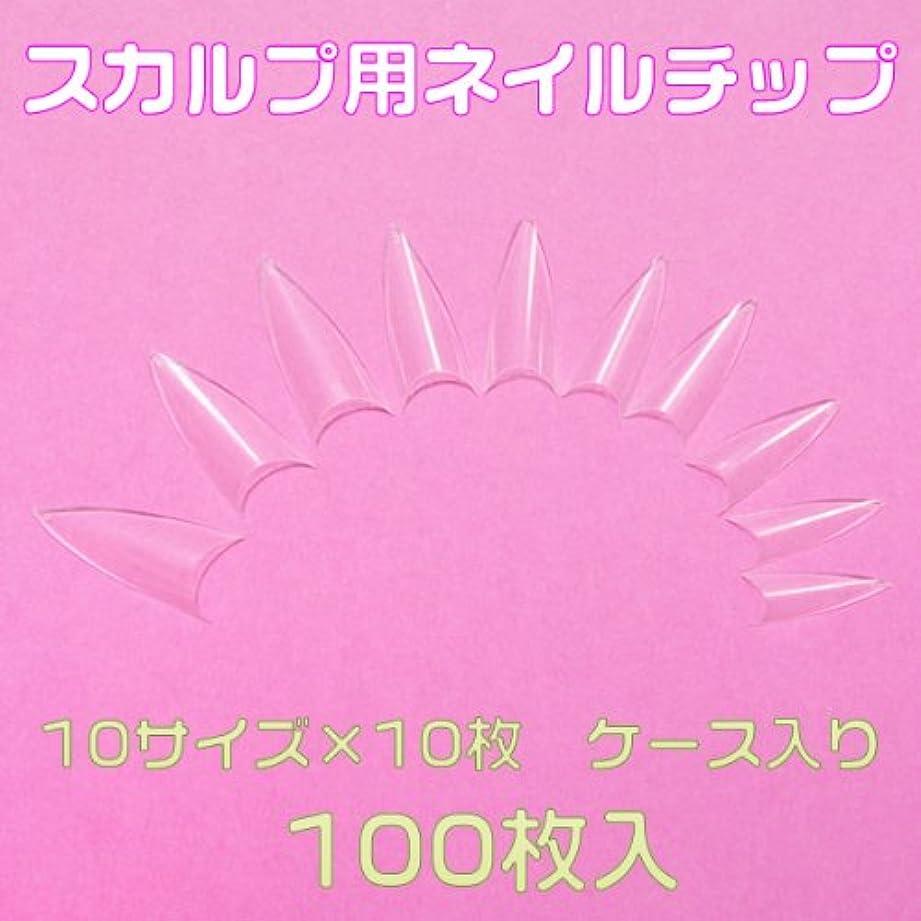 パニックワードローブ有彩色のシャープポイント 先端が尖ったネイルチップ10サイズ100枚 クリア ケース入[#c5]とんがりネイルチップ