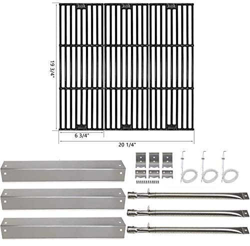Hisencn Replacement Rebuild Kit fits Chargriller 3001, 3008, 3030, 4000, 5050, 5252 Gas Grill Stainless Steel Burner Tube, Heat Plate, Porcelain Cast Iron Cooking Grates, igniter Electrode