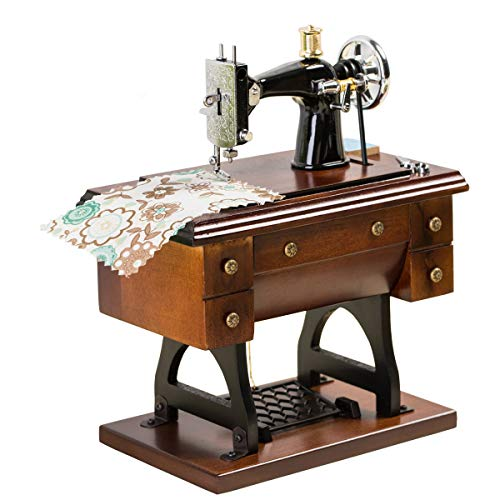 Sewing Machine Music Box Gift - Vintage Mini Musical Box Made of Wood Birthday for Wife Girlfriend Grandma Mom Friend Wooden Wind Up Music Mechanical Clockwork Melody Castle in The Sky