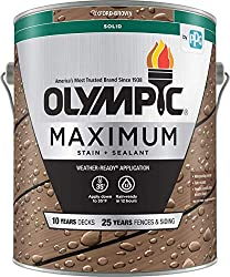 commercial Olympic Stain 79603 Largest Wood Stain and Sealant, 1 Gallon, Solid Stain, Oxford Brown solid deck stain