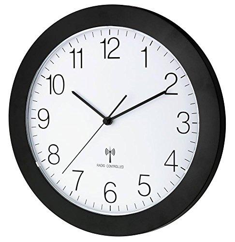 Funk-Wanduhr TFA 60.3512 mit Lautlos Sweep-Uhrwerk, 300 mm (Matt Schwarz)