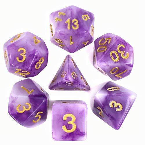 Juego de Dados de Alta definición de poliedros D&D para Dungeon and Dragons RPG Juegos de rol MTG Pathfinder Mesa Top Games Set de 7 Dados púrpura Jade Dados Set: Amazon.es: Juguetes