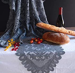 """AK-Trading Floral Lace Crochet Tablecloth Overlay Table Cover (13"""" x 96"""" Runner, Pewter Grey)"""