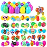 48 Pack Easter Eggs -Colorful Plastic Easter Eggs with Different Kinds of Little Toys,for Easter Hunt, Basket Stuffers Fillers, Theme Party Favor for Kids(2.36in)