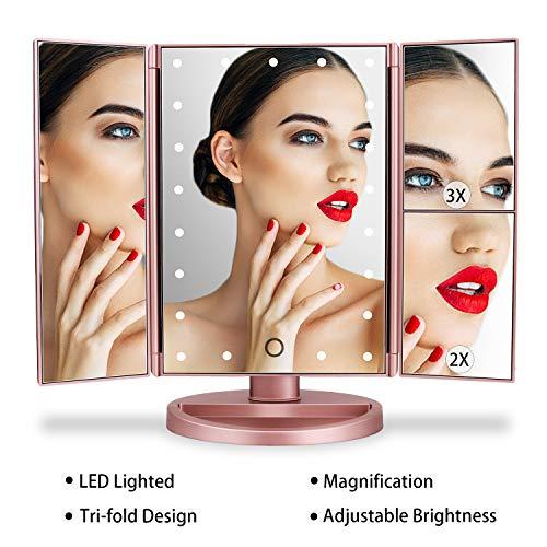LEJU Rose Gold Lighted Makeup Mirror