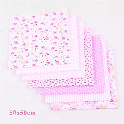 CHYU 7 Stück Baumwollstoff meterware Stoffpakete Patchwork Baumwolle Baumwollstoff Meterware je 50 x 50 cm DIY Handgefertigte Nähen Stoff (Pink)