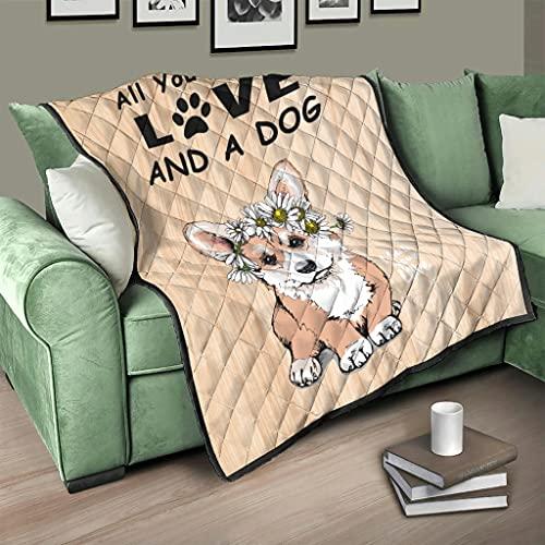 Colcha Corgi Animal Flor Margaritas, todo lo que necesitas es amor y un perro, manta para dormir, blanco 100 x 150 cm
