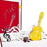3D Grußkarte Gitarre mit Notenschlüssel Pop up, Grußkarte Musik, Geburtstagskarte als Konzert-Gutschein, Festival-Gutschein, Musical-Gutschein, Theater-Gutschein,...