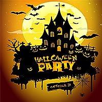 Qinunipoto 背景布 ハロウィン happy halloween 撮影用 写真撮影用 黒い城 コウモリ 黄色い丸い月 写真の背景 背景幕 子供用 新生幼児用 デジタル背景布 撮影布 カスタマイズ可能な背景 ビニール 3x3m