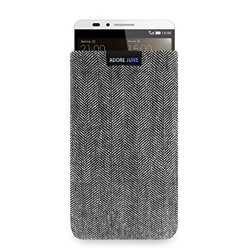 Adore June Business Tasche für Huawei Ascend Mate 7 Handytasche aus charakteristischem Fischgrat Stoff - Grau/Schwarz | Schutztasche Zubehör mit Bildschirm Reinigungs-Effekt | Made in Europe
