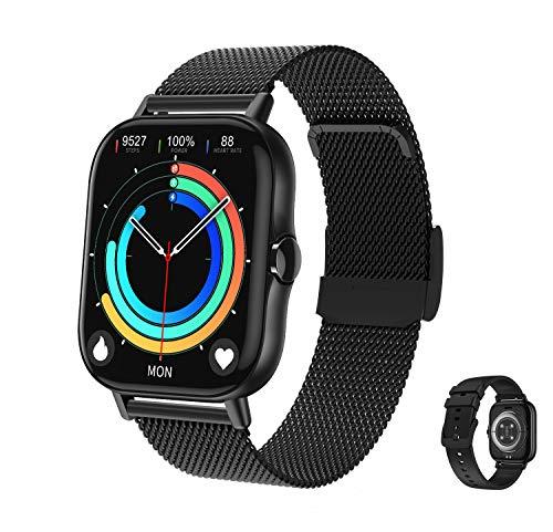 Aliwisdom Smartwatch für Herren Damen, 1,78 Zoll Smart watch mit Bluetooth Anruf Wasserdicht Sport Armbanduhr Fitness Tracker Mit bluetooth telefonieren und Whatsapp Funktion für iOS Android (Schwarz)