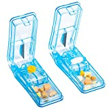 Pill Cutter for Small or Large Pills, Sharp Pill Splitter Cleanly Split Tablets into Half or Quarter, Medicine Tablet Cutter, Medication Vitamin Divider Cutting Pills(2 Pack)