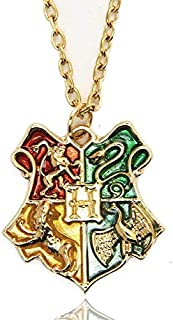 Harry Potter Hogwarts School Badge Pendant Necklace (Golden)