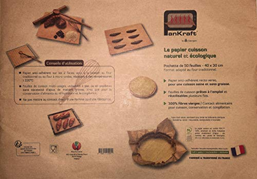 Pankraft Rechteckige Backpapier-Zuschnitte in Profi-Qualität - ungebleicht & umweltfreundlich - 30 x 40 cm - 50 Bögen