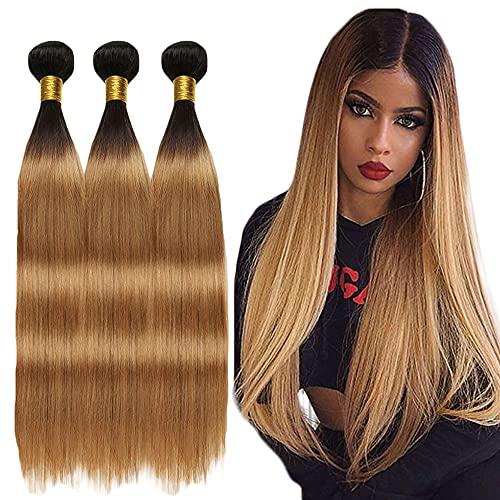 Honey Blonde Bundles Straight Ombre Hair Weave 1b/27 Tow Tone Hair 3 Bundle Brazilian Virgin Hair 300g Remy Hair Bundles 8 10 12 inch
