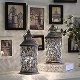 JHY DESIGN Juego de 2 lámparas de mesa de metal funciona con pilas 26.5cm alto inalámbricas con bombilla Edison per sala de estar dormitorio fiestas interiores y exteriores(patrón pluma)