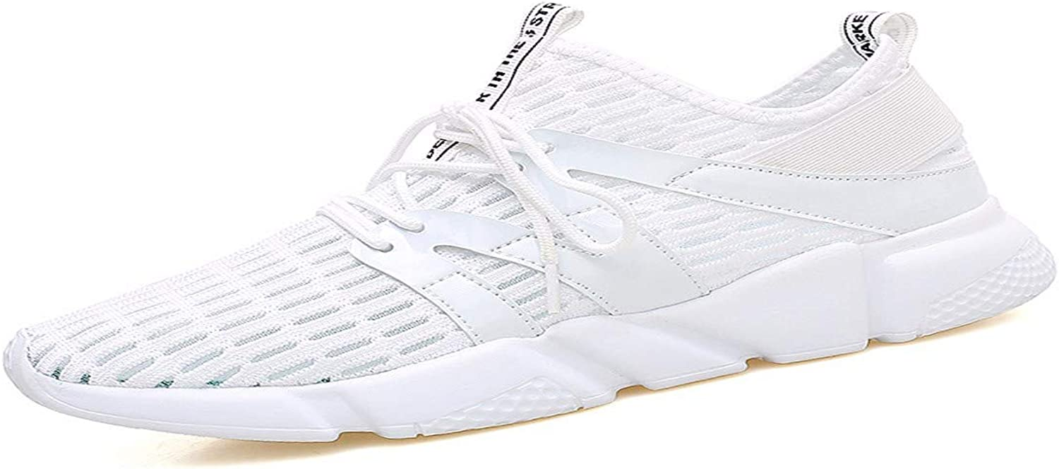 KMJBS Men'S Sneakers Summer Net Face White shoes Men'S Casual Wear Mesh Mesh shoes Sports shoes Tennis shoes.Forty-Two White