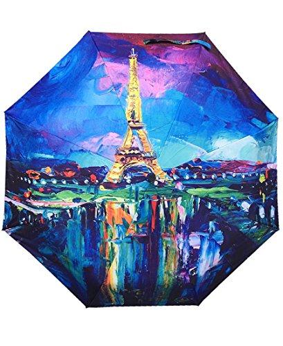 Faltbarer Regenschirm, Eiffelturm, Reflektierend, beeindruckendes Design, farbenfroh, originell und langlebig, Geschenkidee