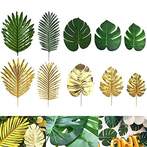 Kesio 64 hojas de palma tropicales artificiales simuladas realistas para decoración del hogar, cocina, fiesta, 6 unidades