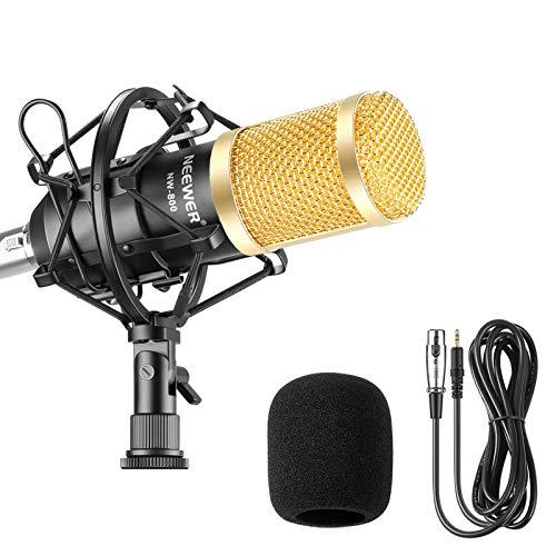 Neewer NW-800 Studio - Micrófono de Condensador Profesional y micrófono con absorción de sacudidas, Tipo de Bola y Cable de alimentación para micrófono