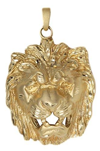 MyGold Löwenkopf Anhänger (Ohne Kette) Gelbgld 585 Gold (14 Karat) Ohne Stein Massiv Gegossen 42mm x 28mm Schwer ca. 17,25 gr Herrenanhänger Goldanhänger Nonino V0006644