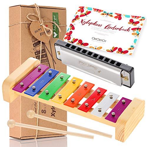 Holz Xylophon für Kinder - mit Mundharmonika und Lieder Buch: Perfekt Glockenspiel f. Kleine Musiker - Erzeugt Magische Klänge mit Kleinen Händen; Baby Schlaginstrument Musikinstrument ab 3 Jahren