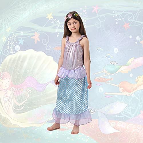 Disfraz de Princesa Sirenita, Disfraz Largo y Elegante para Niñas, Vestidos Festivos para Niñas para Halloween, Carnaval Cosplay Fiesta Cumpleaños (Merd-BL-L)
