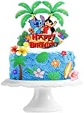 Lilo And Stitch Cake Topper - Hawaiian Tropical Summer Sea Beach Glitter Stitch Cake Supplies - Boys Girls Birthday Party Favors Decorations