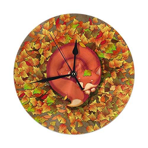 Azalea tienda The Dormir Fox Madre e Niño en Las Hojas Caídas. Reloj de pared redondo silencioso sin tachuelas para decoración del hogar, 9.84 pulgadas