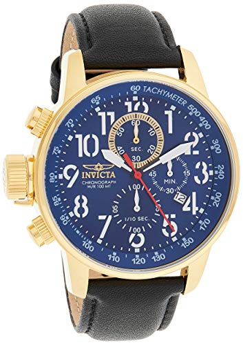 Men's Connection Stainless Steel Quartz Watch with Leather Calfskin Strap, Black, 20 (Model: ) - Invicta 24737