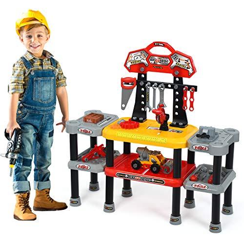 COSTWAY 121-teiliges Kinder Werkbank Set, Kinder Rollenspiel Bank mit Haken, Werkzeugbank geeignet für Kleinkinder ab 3 Jahren