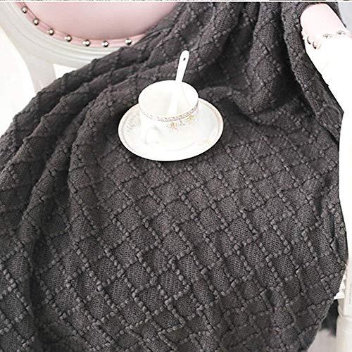 ZXL Geel gebreide deken en deken gemaakt van wol gemaakt van imitatie kasjmier, zacht en flexibel, geschikt voor bruiloften | Leren | Slaapkamer | Slaapbank | Camping | Kerstmis (Kleur: zwart)