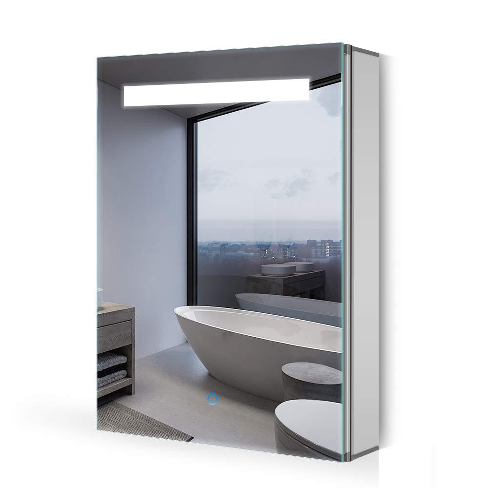 Quavikey LED Espejo gabinete baño de Aluminio Espejo del gabinete ...