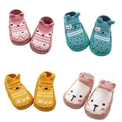 XM-Amigo 4 Paar Baby-Socken-Schuhe, für Jungen und Mädchen, Hausschuhe mit Anti-Rutsch, - Pink Set02 - Größe: 6-12 Monate