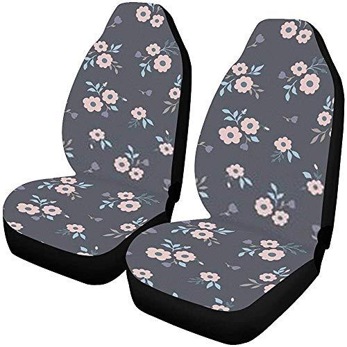 Enoqunt Autostoelhoezen voorstoelen 2 stuks Dark Floral Patroon Vector Flower naadloze autostoelbeschermers Car Mat Covers e,