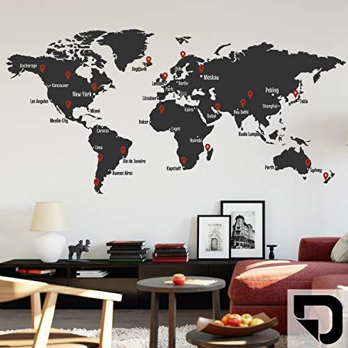 DESIGNSCAPE® Wandtattoo Weltkarte mit Städtenamen und Pins zum Markieren von Reisezielen und Wunschorten 120 x 58 cm (Breite x Höhe) Farbe 1: schwarz DW807427-S-F4