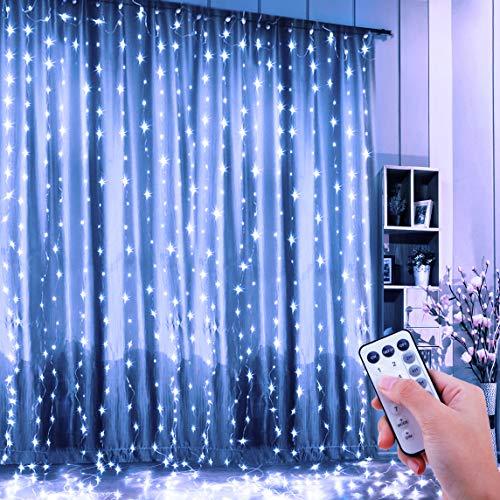 FishOaky Lichtervorhang, 300 LED Lichterkettenvorhang 3mx3m, 8 Leuchtmodi Wasserdicht kupferdraht Lichterkette mit Fernbedienung Timer für Party Garten Hochzeit Fenster Pavillon Innen Außen (Weiß)