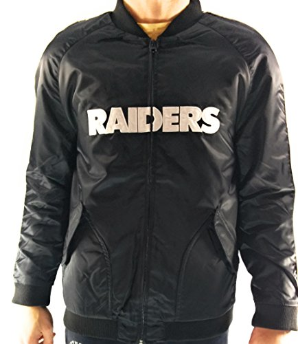 Fanatics Herren NFL Oakland Raiders Satin Varsity Jacke, schwarz/Weiß, L