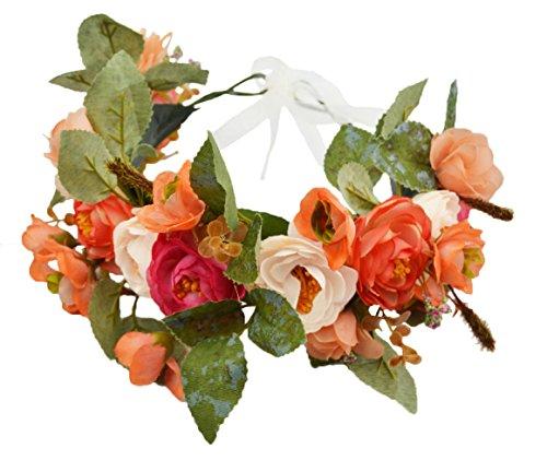 Rose Flower Crown Boho Flower Headband Hair Wreath Floral Headpiece Halo with Ribbon Wedding Party Festival Photos Orange by Vivivalue